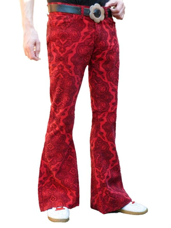 Paisley Cords Flares -  Mens Bell Bottoms Corduroy Trosuers Pants - Psychedelic Red